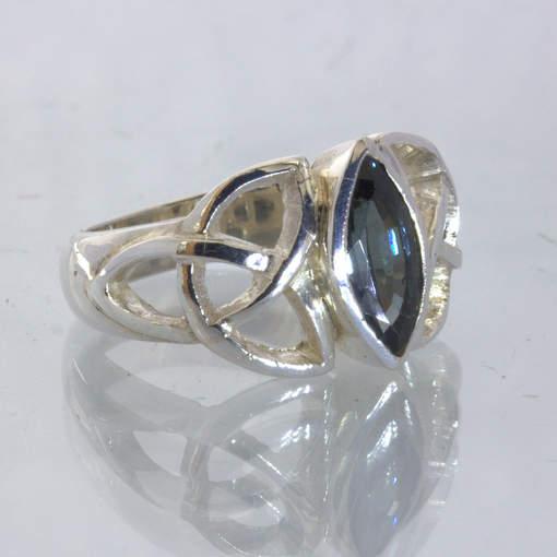 Blue Burma Spinel Handmade Celtic Knot Infinity Symbol Ring size 7.25 Design 328