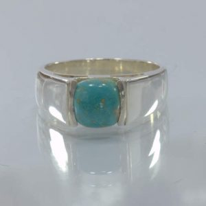 American Turquoise Square Cab Handmade 925 Silver Unisex Ring size 8.5 Design 43