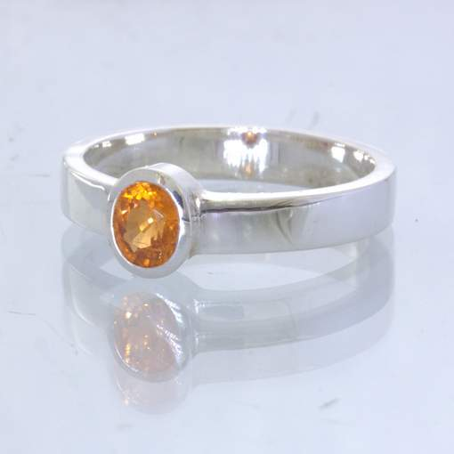 Yellow Sapphire Handmade Silver Solitaire Stackable Ring size 7.25 Design 530