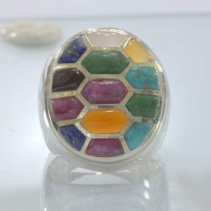 Mosaic Inlay All Natural Gemstones Handmade 925 Silver Ring size 10 Design 543