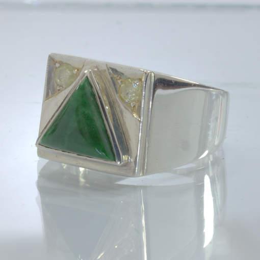 Green Maw Sit Sit Triangle Yellow Diamonds 925 Silver Ring size 10.25 Design 404