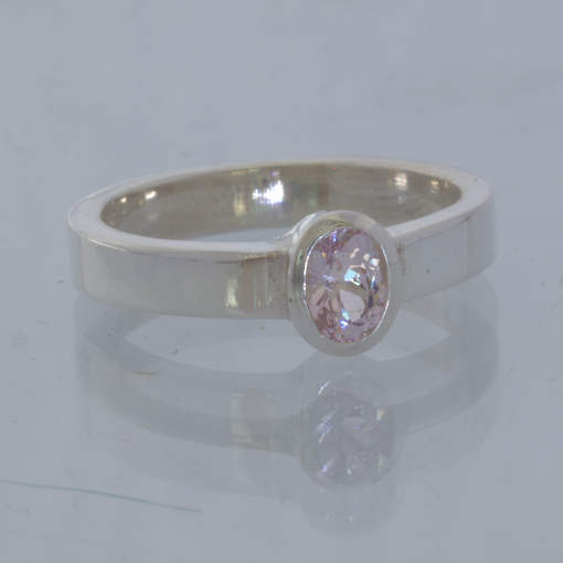 Pink Burma Spinel Handmade Silver Stackable Solitaire Ring size 5.75 Design 530