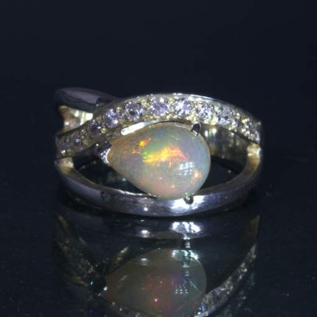 Opal Welo White Sapphire Handmade 925 Silver Ring size 7.5 Statement Design 90