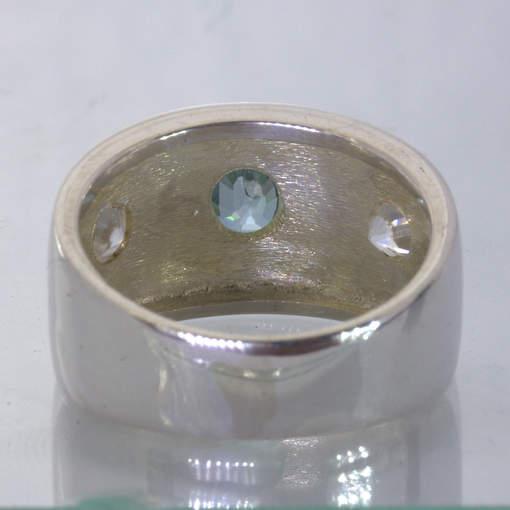 Blue White Cambodia Zircon Handmade 925 Silver Wide Ring size 9.25 Design 433