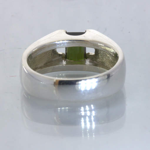 Green Tourmaline Rectangle 925 Silver Unisex Solitaire Ring size 8.25 Design 22