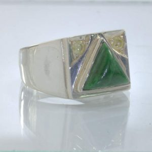 Green Maw Sit Sit Triangle Yellow Diamonds 925 Silver Ring size 10.25 Design 404