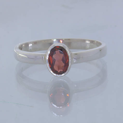 Red Orange Garnet Silver Solitaire Stacking Ring size 9.75 Stackable Design 530