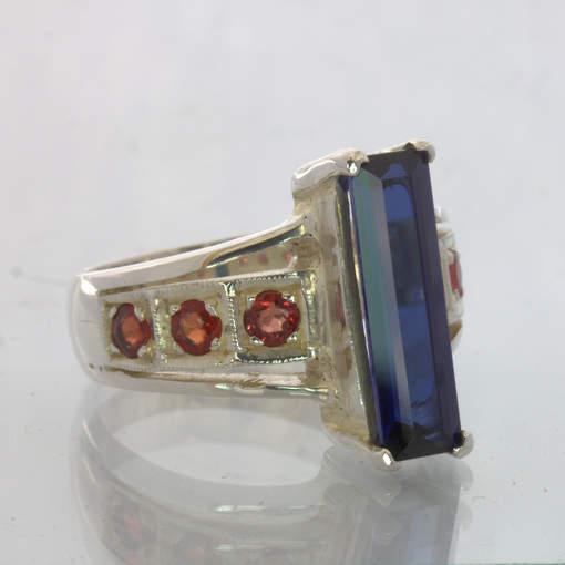 Lab Blue Sapphire Red Sapphires Handmade Silver Statement Ring size 9 Design 500