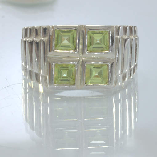 Green Peridot Squares 925 Silver Watchband Style Ring size 9.5 Gents Design 11