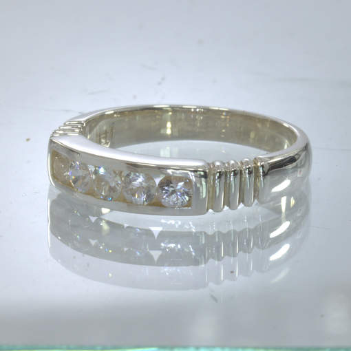 White Sapphire 3 mm Rounds Handmade Silver Channel Set Ring size 8.75 Design 6