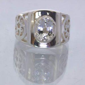 Clear White Cambodia Topaz Oval Silver Ajoure Filigree Ring size 9.5 Design 113