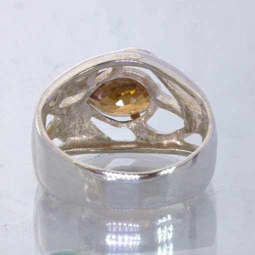 Unheated Orangish Brown Zircon Handmade Silver Unisex Ring size 9.75 Design 395