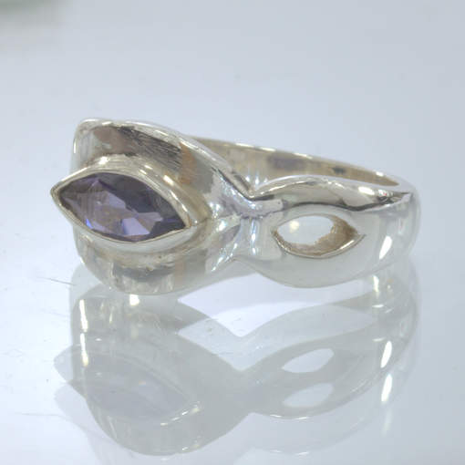 Blue Purple Iolite Gemstone Silver Solitaire Ring size 6.75 Unisex Design 403