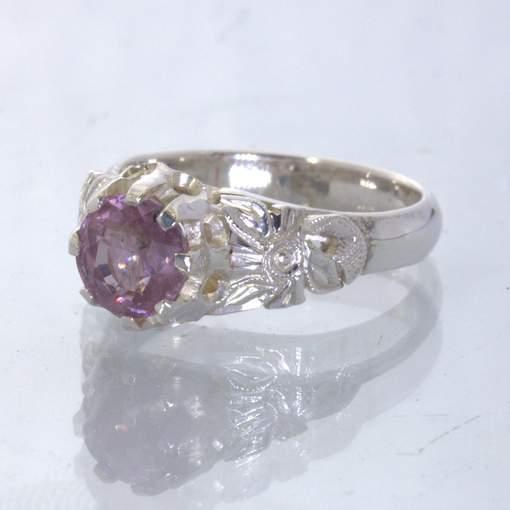 Purplish Pink Burma Spinel Silver Statement Ring size 6 Angel Flower Design 34