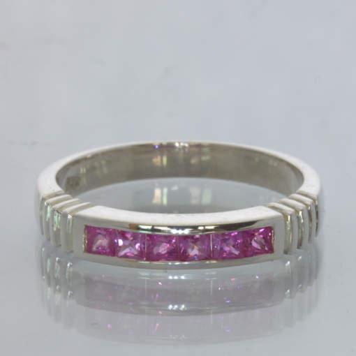 Pink Ceylon Square Sapphire Handmade Silver Channel Set Ring size 8.5 Design 6