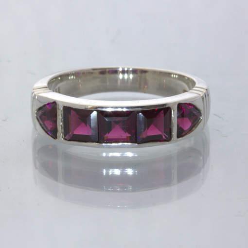 Rhodolite Raspberry Garnet Handmade Silver Channel Set Ring size 10.5 Design 515