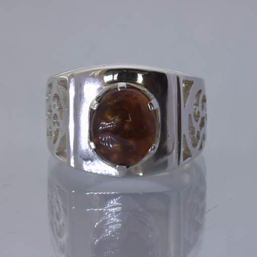 Fire Agate Brazil Cabochon Oval Silver Ajoure Filigree Ring size 9 Design 113