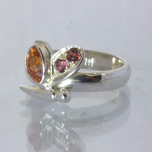 Orange Spessartite Red Malaya Garnet Silver Butterfly Ring size 8.25 Design 516