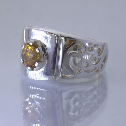 Yellow Cambodia Zircon Oval 925 Silver Ajoure Filigree Ring size 8.5 Design 113