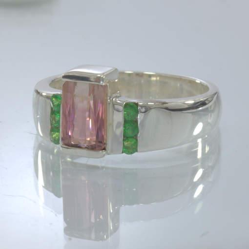 Pink Padparadscha Tourmaline Tsavorite Garnet Silver Ring size 9.25 Design 319