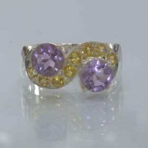 Purple Amethyst Yellow Citrine Handmade Silver Ladies Cocktail Ring size 9.25