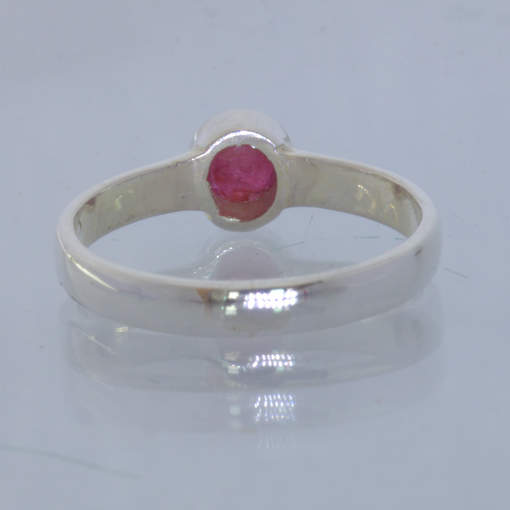 Red Ruby No Glass Silver Solitaire Stacking Ring size 6.25 Stackable Design 530
