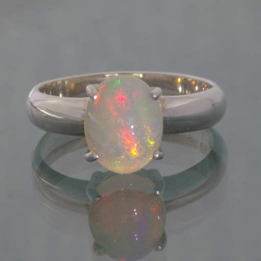 Welo Opal Colorful Oval Cabochon Handmade Silver Ladies Ring size 7 Design 121
