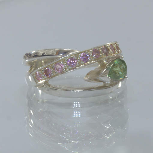 Green Sapphire and Pink Tourmaline Handmade 925 Sterling Ladies Ring size 6.75