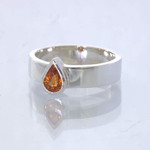 Spessartite Orange Garnet Pear Silver Stacking Solitaire Ring size 6 Design 530
