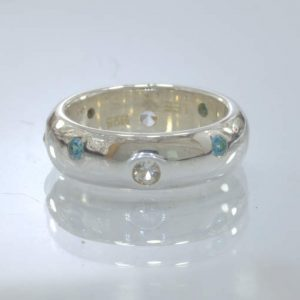 Swiss Blue White Topaz Handmade 925 Silver Unisex Band Ring size 5.5 Design 158