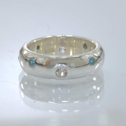 Swiss Blue White Topaz Handmade 925 Silver Unisex Band Ring size 5.5 Design 158
