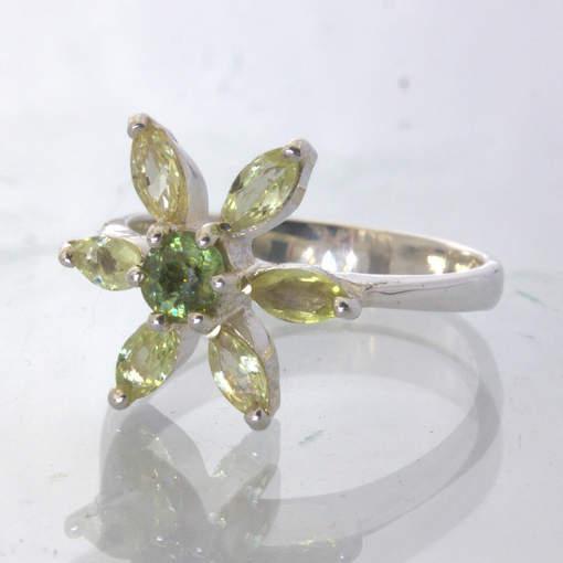 Yellow Sapphire Demantoid Garnet 925 Silver Flower Ring size 7 Floral Design 424