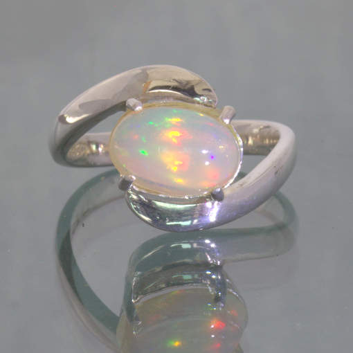 Welo Opal Colorful Oval Cabochon Handmade Silver Unisex Ring size 6.25 Design 45