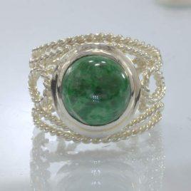Burma Mawsitsit Green Cabochon Handmade Silver Ring size 10.5 Filigree Design 86