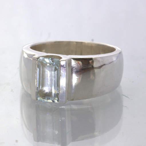 Aquamarine Light Blue Green Handmade 925 Silver Unisex Ring Size 6.25 Design 43