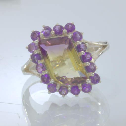 Ametrine Yellow Purple Amethyst Halo Handmade 925 Silver Ring size 8.5 Design 54