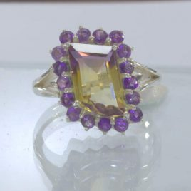 Ametrine Yellow Purple Amethyst Halo Handmade 925 Silver Ring size 8.5 Design 54