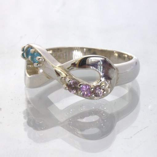 Pink Sapphire Swiss Blue Topaz Silver Figure 8 Infinity Ring size 6 Design 511