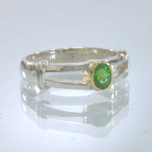 Chrome Green Tourmaline Handmade Silver Ring 18K Gold Bezel size 6.5 Design 16