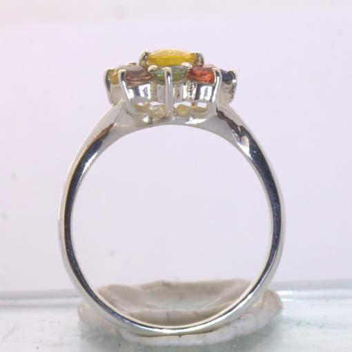 Yellow Sapphire Rainbow Color Party Sapphires Halo Silver Ring size 9 Design 54