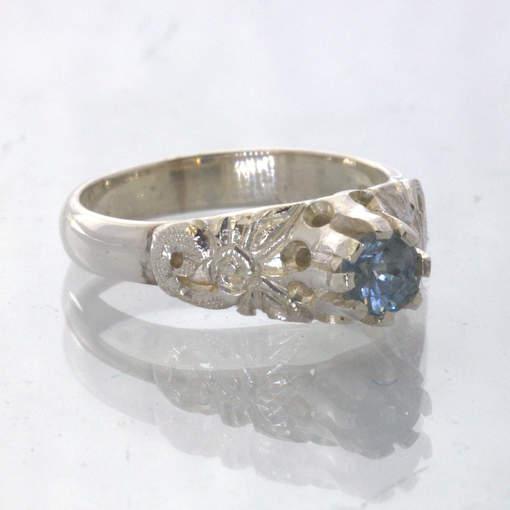 Blue Burma Sapphire No Heat Handmade Silver Ring size 5 Angel Flower Design 34