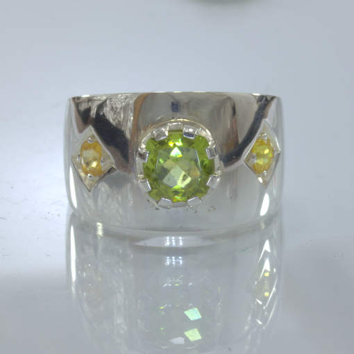 Green Peridot Yellow Sapphire Handmade 925 Silver Ring size 10.5 Wide Design 433