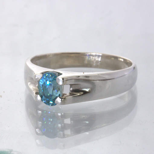Cambodian Windex Blue Zircon Oval Handmade Silver Unisex Ring size 11 Design 22