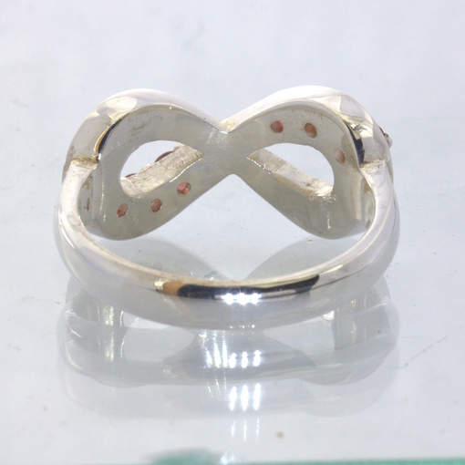 Red Sapphire Silver Celtic Figure 8 Infinity Symbol Ring size 9.75 Design 511