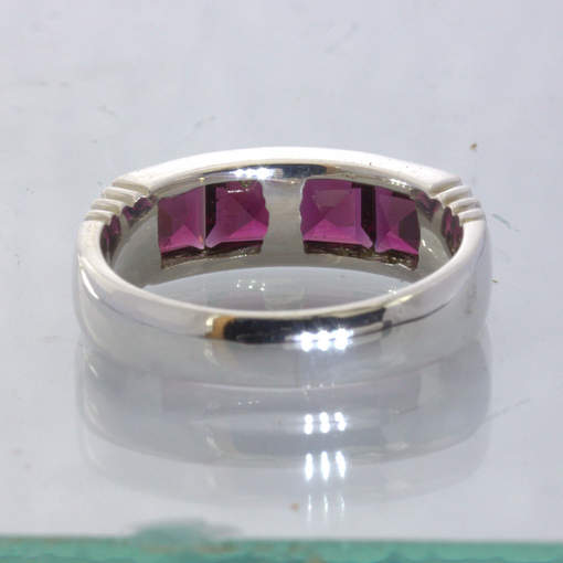 Rhodolite Red Purple Garnet Square Silver Unisex Channel Ring size 10 Design 6
