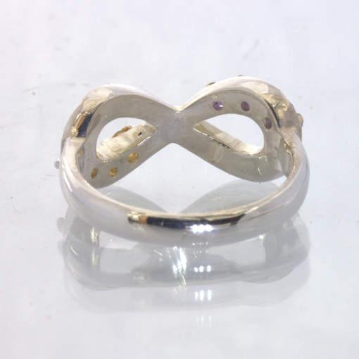 Purple Amethyst Yellow Citrine Figure 8 Infinity Silver Ring size 9 Design 511