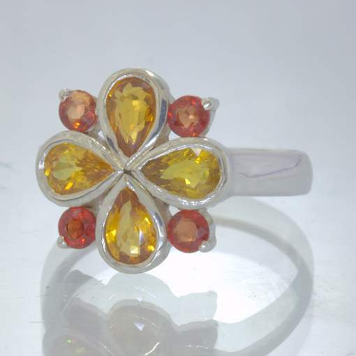 Yellow Red Sapphire 925 Silver Ring size 8.25 Geometric Clover 8 Gem Design 51