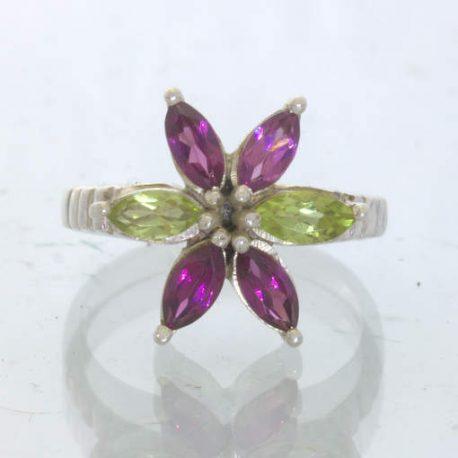 Rhodolite Garnet Peridot 925 Sterling Ring Size 6.75 Marquise Flower Design 199
