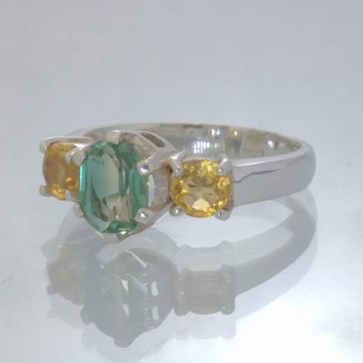 Green White Lab Quartz Yellow Citrine Sterling Size 8.5 Ring 3 Stone Design 658
