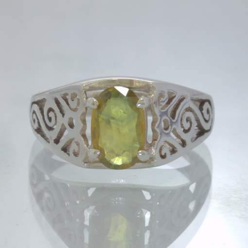 Yellow Blue Party Sapphire Oval Sterling Ring Size 8 Filigree Ajoure Design 1